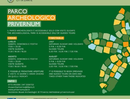 Orari di apertura del Parco Archeologico Privernum per i mesi di luglio e agosto 2019