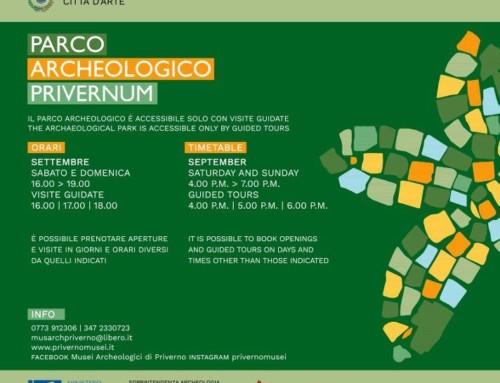 Orari di apertura del Parco Archeologico Privernum nel mese di settembre